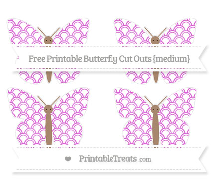 Free Orchid Fish Scale Pattern Medium Butterfly Cut Outs