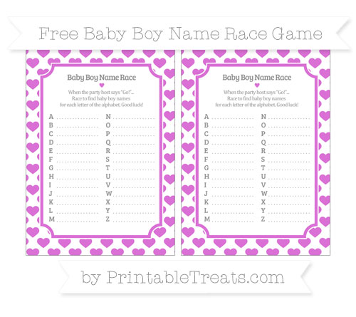 Free Orchid Heart Pattern Baby Boy Name Race Game