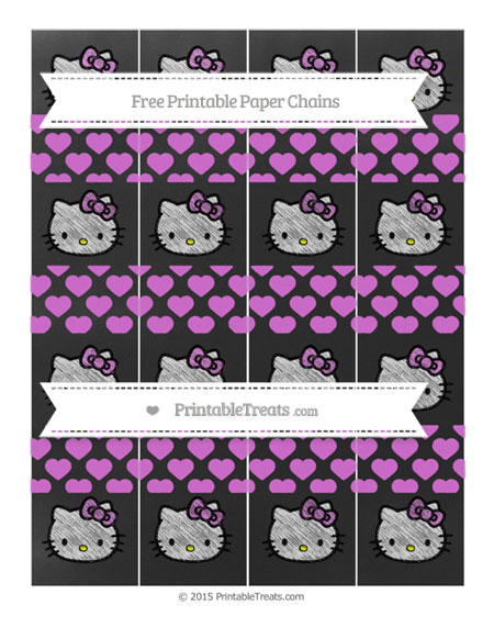 Free Orchid Heart Pattern Chalk Style Hello Kitty Paper Chains