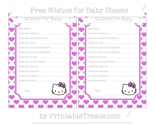 Free Orchid Heart Pattern Hello Kitty Wishes for Baby Sheets