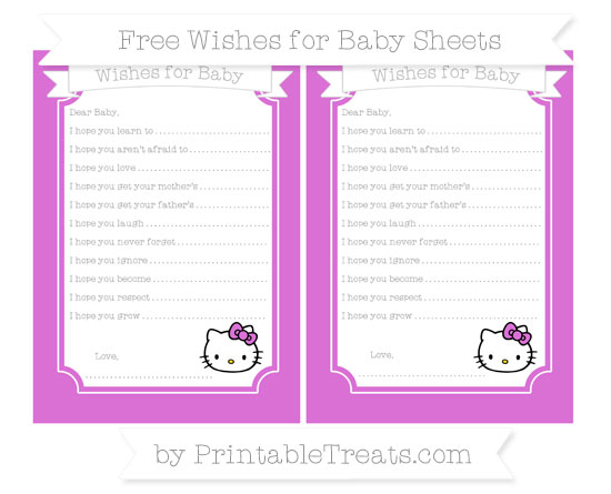 Free Orchid Hello Kitty Wishes for Baby Sheets