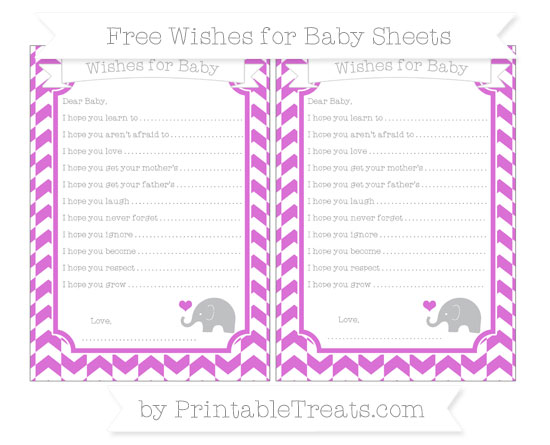 Free Orchid Herringbone Pattern Baby Elephant Wishes for Baby Sheets