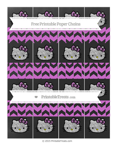 Free Orchid Herringbone Pattern Chalk Style Hello Kitty Paper Chains