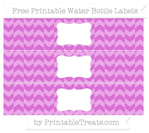 Free Orchid Herringbone Pattern Water Bottle Labels