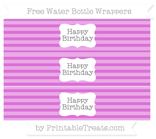 Free Orchid Horizontal Striped Happy Birhtday Water Bottle Wrappers