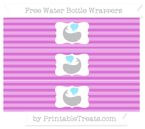 Free Orchid Horizontal Striped Whale Water Bottle Wrappers