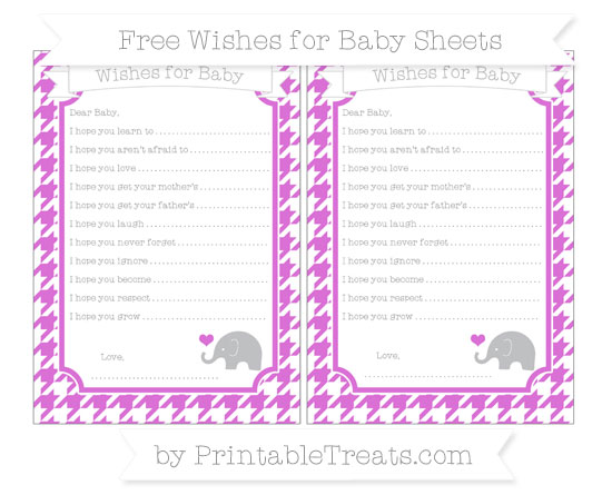 Free Orchid Houndstooth Pattern Baby Elephant Wishes for Baby Sheets