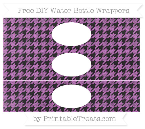 Free Orchid Houndstooth Pattern Chalk Style DIY Water Bottle Wrappers