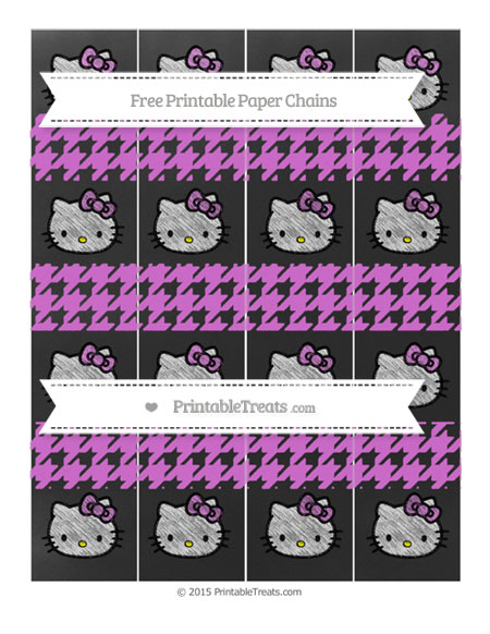 Free Orchid Houndstooth Pattern Chalk Style Hello Kitty Paper Chains