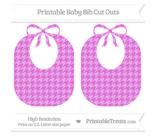 Free Orchid Houndstooth Pattern Large Baby Bib Cut Outs
