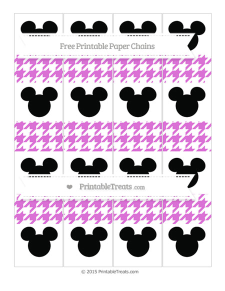 Free Orchid Houndstooth Pattern Mickey Mouse Paper Chains
