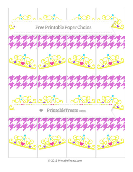 Free Orchid Houndstooth Pattern Princess Tiara Paper Chains