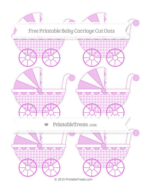 Free Orchid Houndstooth Pattern Small Baby Carriage Cut Outs