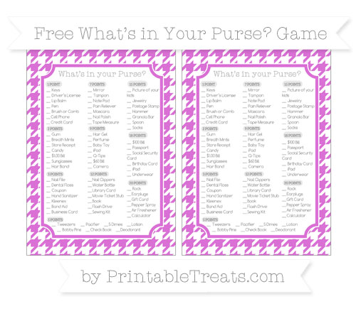 Free Orchid Houndstooth Pattern What's in Your Purse Baby Shower Game
