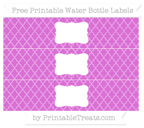 Free Orchid Moroccan Tile Water Bottle Labels