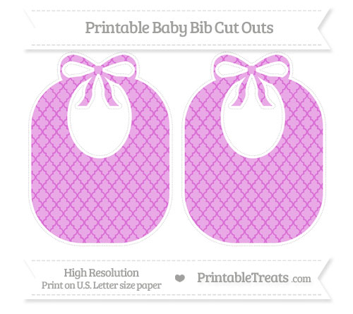 Free Orchid Moroccan Tile Large Baby Bib Cut Outs