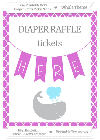 Free Orchid Moroccan Tile Whale 8x10 Diaper Raffle Ticket Sign