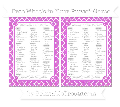 Free Orchid Moroccan Tile What's in Your Purse Baby Shower Game