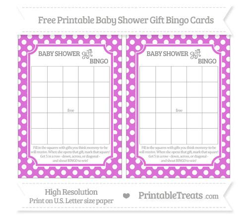 Free Orchid Polka Dot Baby Shower Gift Bingo