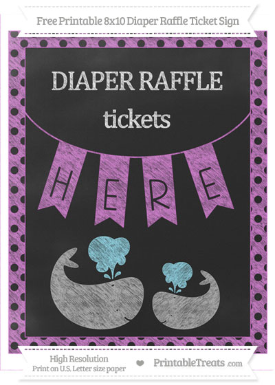 Free Orchid Polka Dot Chalk Style Baby Whale 8x10 Diaper Raffle Ticket Sign