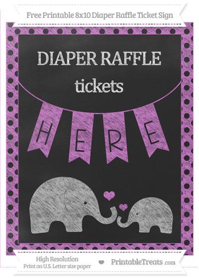 Free Orchid Polka Dot Chalk Style Elephant 8x10 Diaper Raffle Ticket Sign