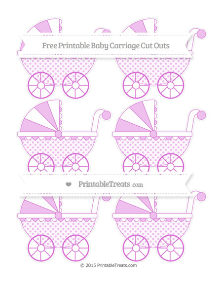 Free Orchid Polka Dot Small Baby Carriage Cut Outs
