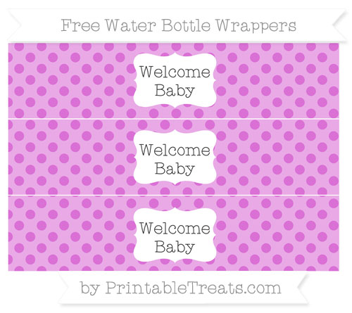 Free Orchid Polka Dot Welcome Baby Water Bottle Wrappers