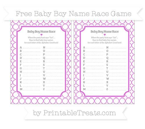 Free Orchid Quatrefoil Pattern Baby Boy Name Race Game