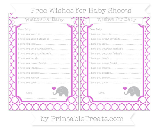Free Orchid Quatrefoil Pattern Baby Elephant Wishes for Baby Sheets