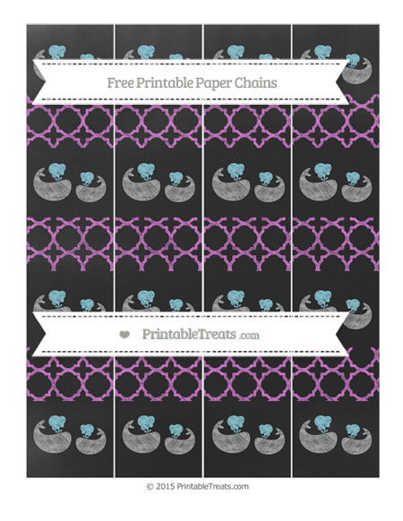 Free Orchid Quatrefoil Pattern Chalk Style Baby Whale Paper Chains