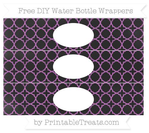Free Orchid Quatrefoil Pattern Chalk Style DIY Water Bottle Wrappers