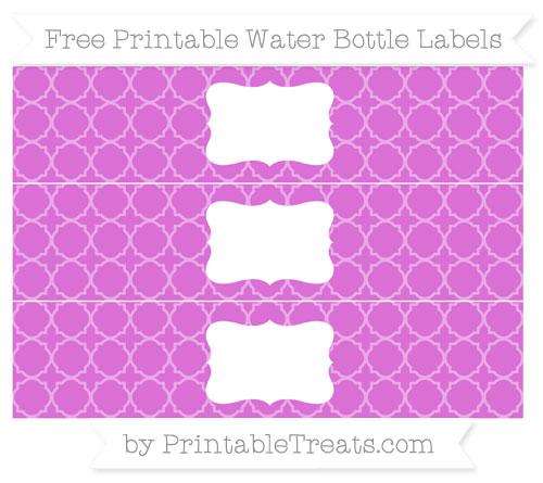 Free Orchid Quatrefoil Pattern Water Bottle Labels