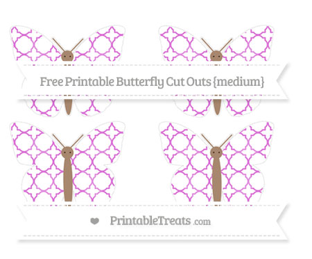 Free Orchid Quatrefoil Pattern Medium Butterfly Cut Outs