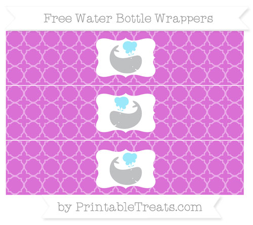 Free Orchid Quatrefoil Pattern Whale Water Bottle Wrappers