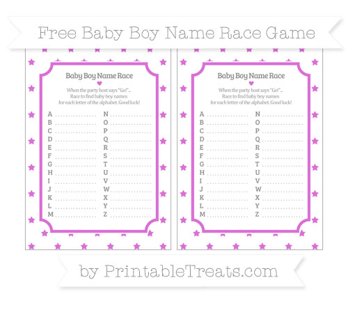 Free Orchid Star Pattern Baby Boy Name Race Game