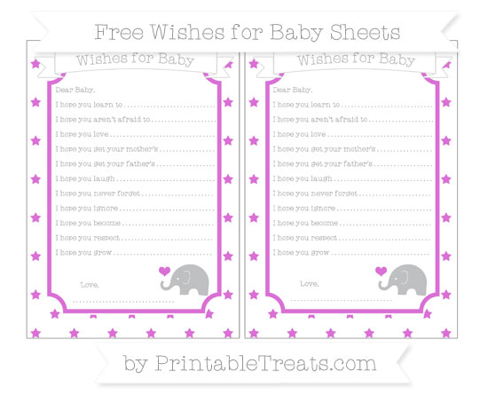 Free Orchid Star Pattern Baby Elephant Wishes for Baby Sheets