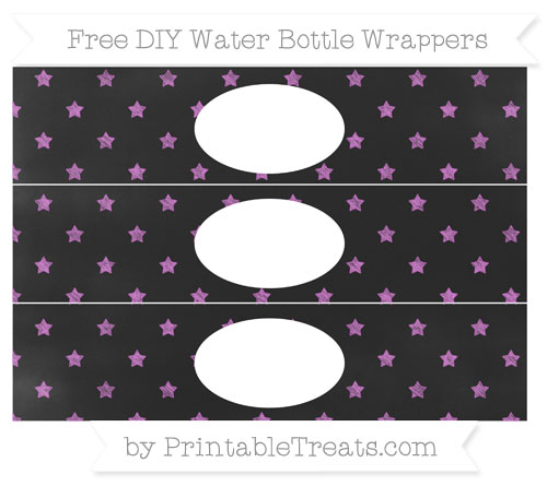 Free Orchid Star Pattern Chalk Style DIY Water Bottle Wrappers