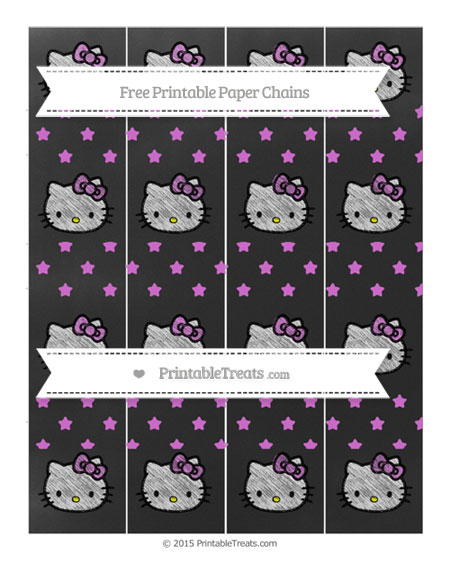 Free Orchid Star Pattern Chalk Style Hello Kitty Paper Chains