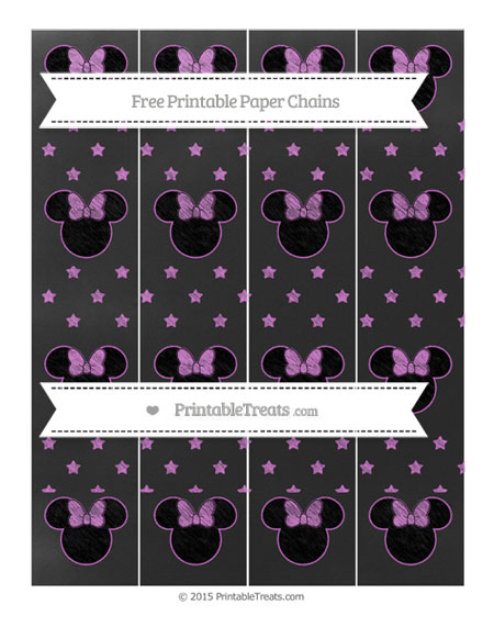 Free Orchid Star Pattern Chalk Style Minnie Mouse Paper Chains