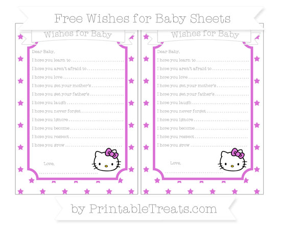 Free Orchid Star Pattern Hello Kitty Wishes for Baby Sheets