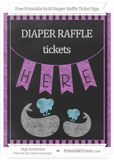 Free Orchid Striped Chalk Style Baby Whale 8x10 Diaper Raffle Ticket Sign