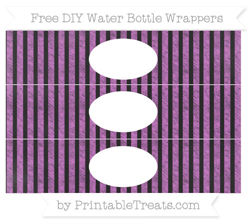 Free Orchid Striped Chalk Style DIY Water Bottle Wrappers