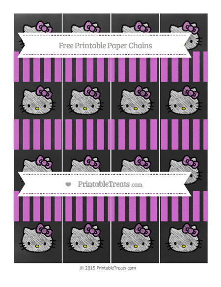Free Orchid Striped Chalk Style Hello Kitty Paper Chains
