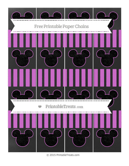 Free Orchid Striped Chalk Style Mickey Mouse Paper Chains
