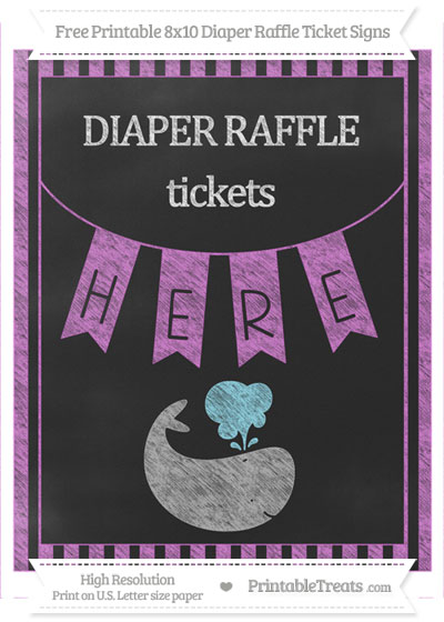 Free Orchid Striped Chalk Style Whale 8x10 Diaper Raffle Ticket Sign