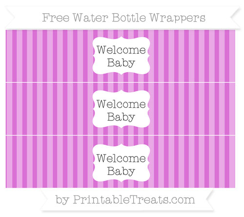 Free Orchid Striped Welcome Baby Water Bottle Wrappers