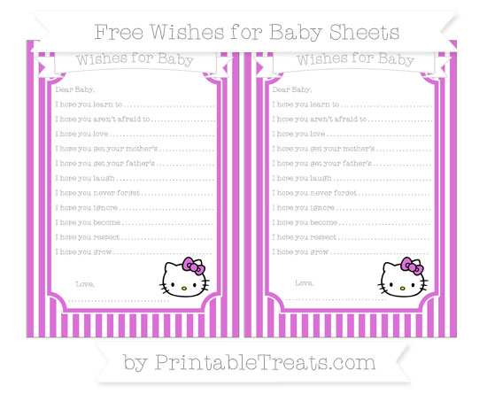 Free Orchid Thin Striped Pattern Hello Kitty Wishes for Baby Sheets