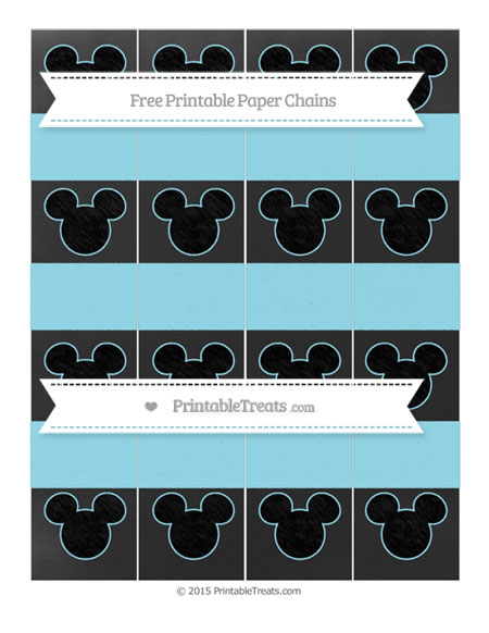 Free Pastel Aqua Blue Chalk Style Mickey Mouse Paper Chains