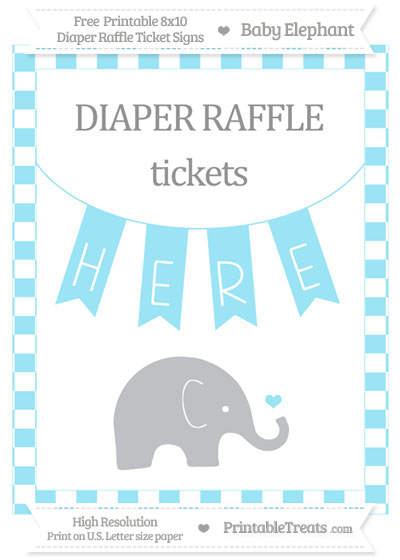 Free Pastel Aqua Blue Checker Pattern Baby Elephant 8x10 Diaper Raffle Ticket Sign
