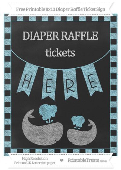 Free Pastel Aqua Blue Checker Pattern Chalk Style Baby Whale 8x10 Diaper Raffle Ticket Sign